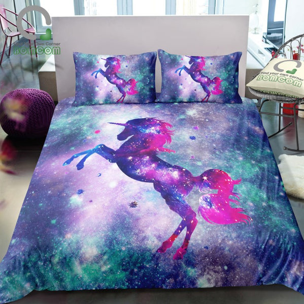 3D Digital Unicorn Fantasy Stars Galaxy Bedding Sets Duvet Cover Kids Bedding Sets 100% Microfiber Rainbow Color Twin/Full/Queen/King Size