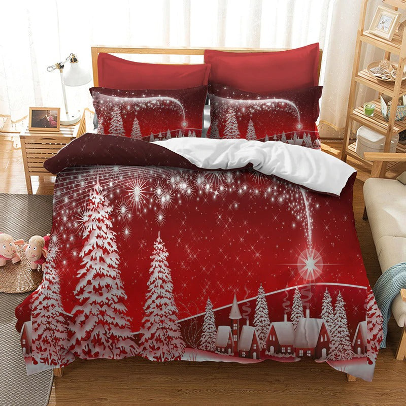 Christmas Bedding Sets 3D Printing Merry Christmas Bedroom Bedclothes Geometric Plaid Home Textiles