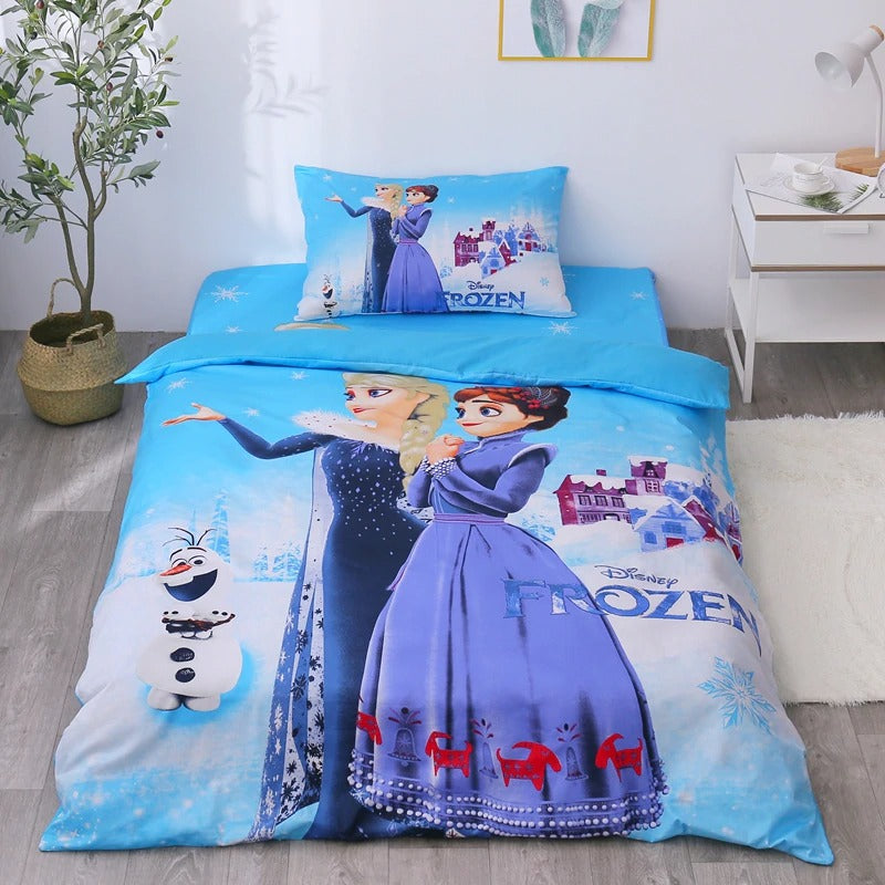Frozen Bed Set 3d Cartoon Elsa Anna Blue Bedding Sets Bedroom Decor Fo Lusy Store