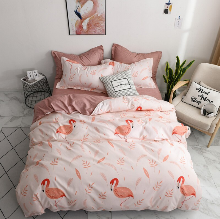 Tropical Bedding Cute Cartoon Unicorn and Flamingo Leave Bedding Sets Gift for Girls Boys