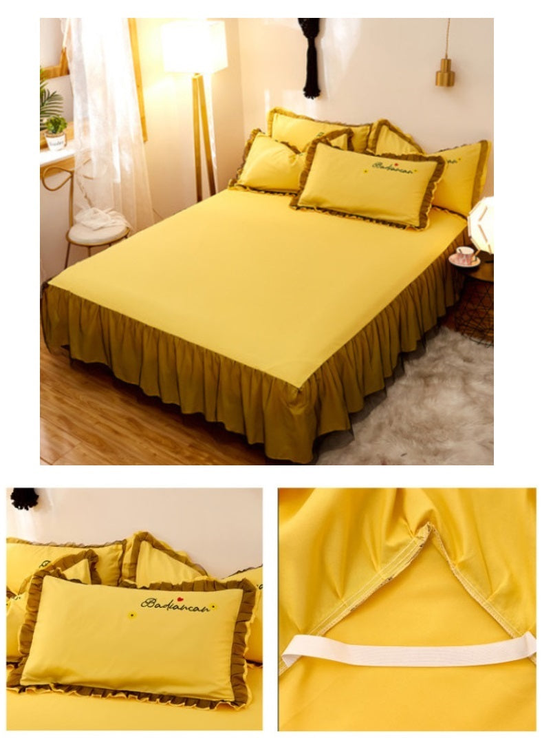 Girls Bedding Sets Korean Version Explosion-Style Lace Bed Skirt Girl Princess Cotton Brushed