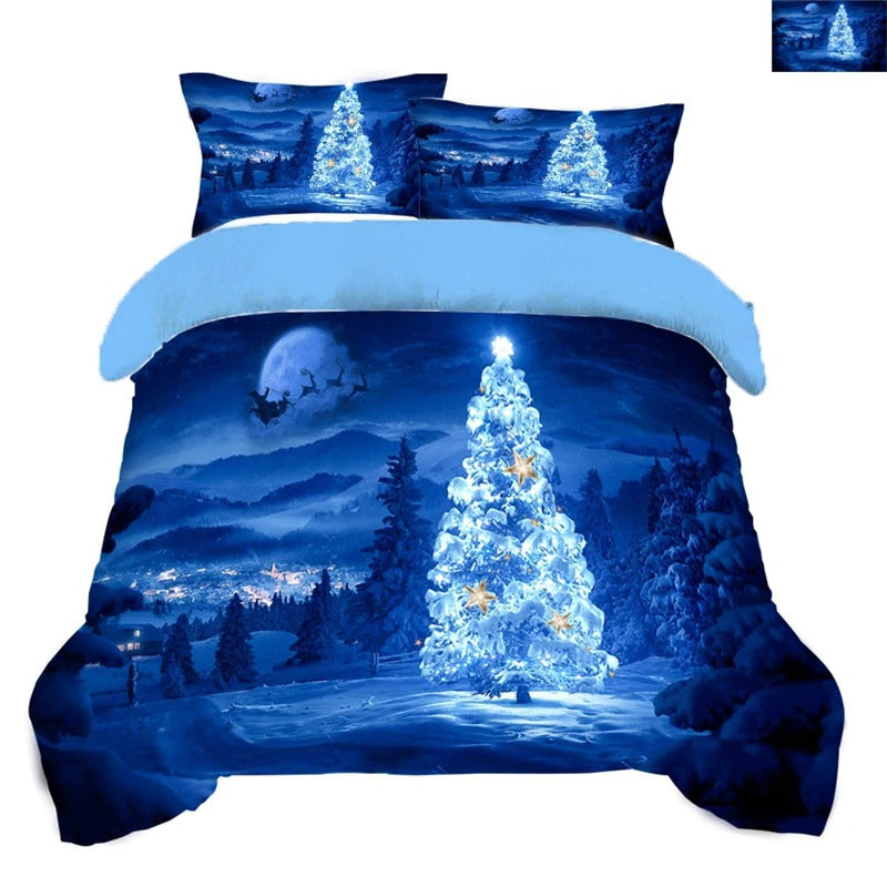Christmas Bedding Sets 3D Christmas Tree Twin Full Quenn King Size Blue Bedding Sets Bed Linen