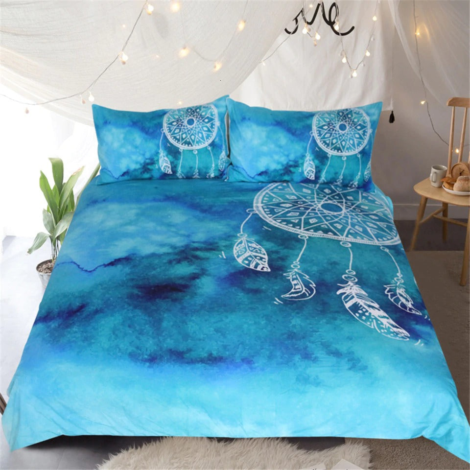 Luxury Bedding Sets Watercolor Dreamcatcher Blue Bedding Sets For Adult Kids