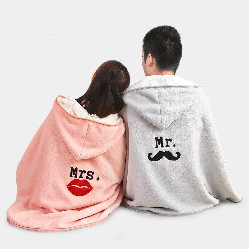 Comfy Hooded Blanket Comfortable Blanket For Lovers Tv Blanket Solid Warm Hooded Blankets Adults And Children