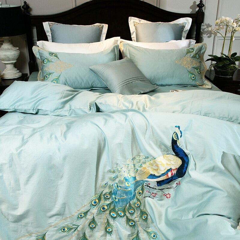 Luxury Bedding Sets Embroidery Peacock Pattern 600TC Egyptian Cotton Soft Fabric Peacock Pattern
