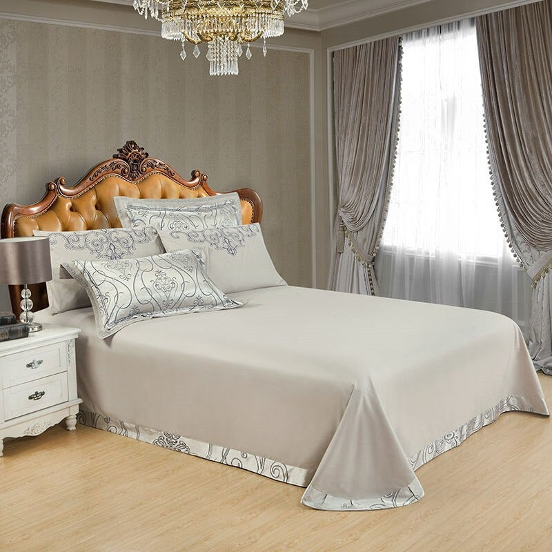 Luxury Bedding Sets Silk Satin Jacquard Embroidery Bed Set