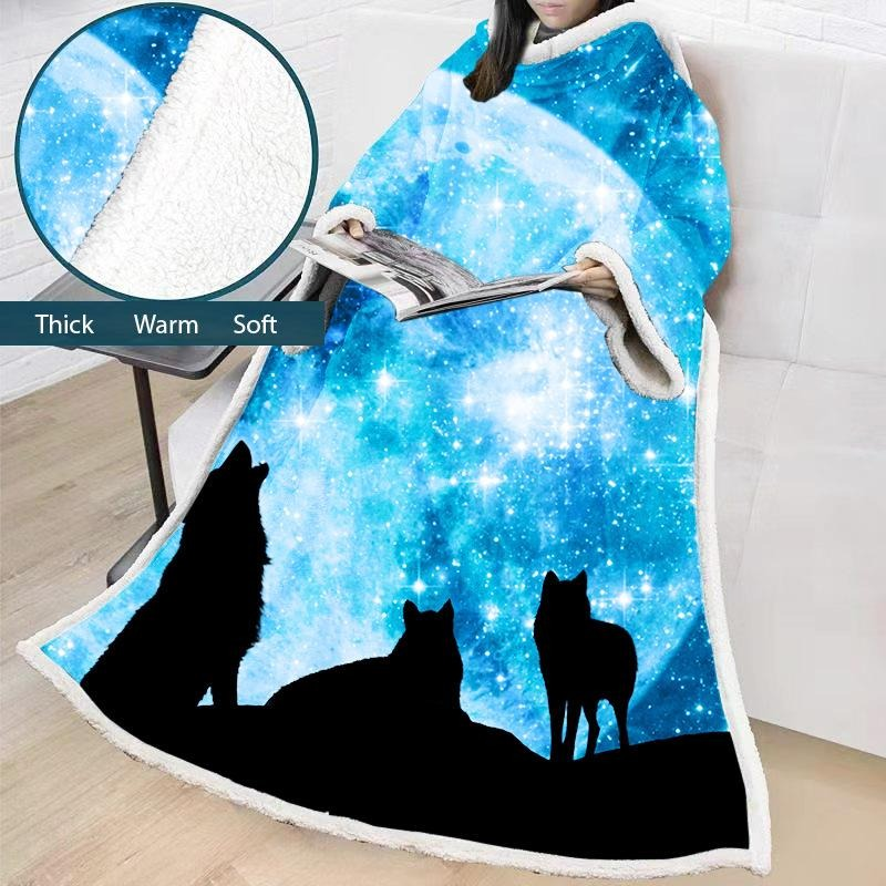Comfy Hooded Blanket Wolf Winter Thick Blanket Comfortable TV Blankets For Sofa Bed Travel Bed
