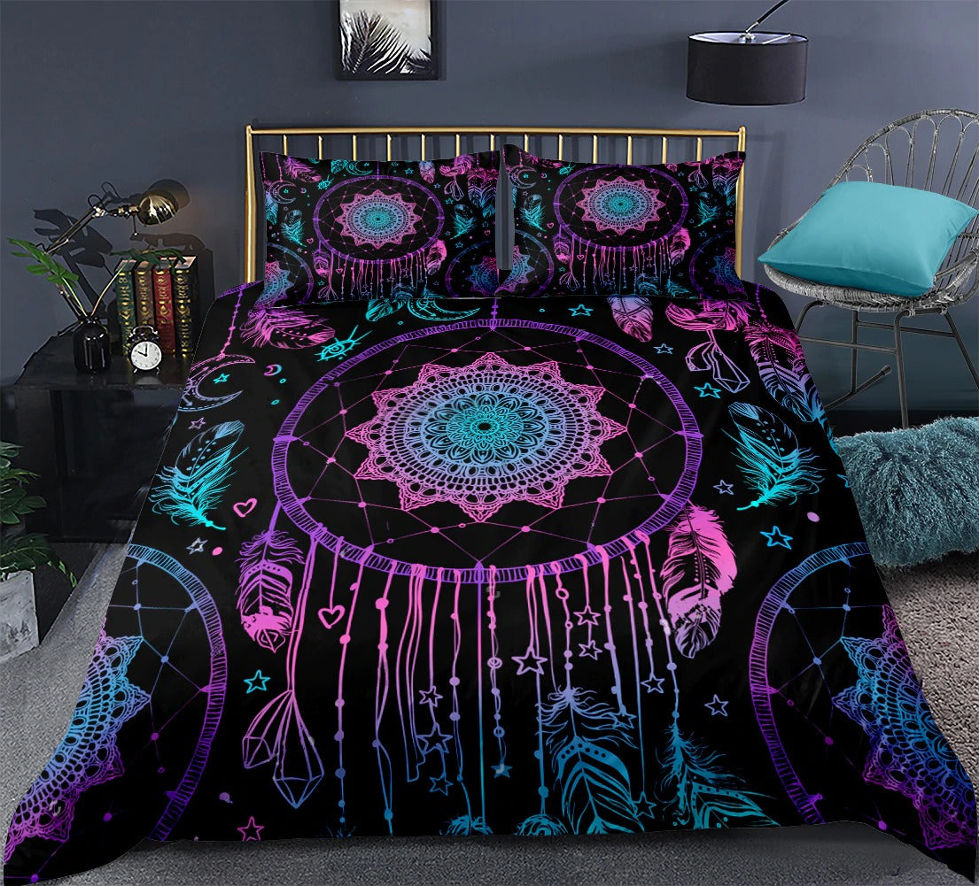 Boho Bedding Feathers Galaxy Bed Set