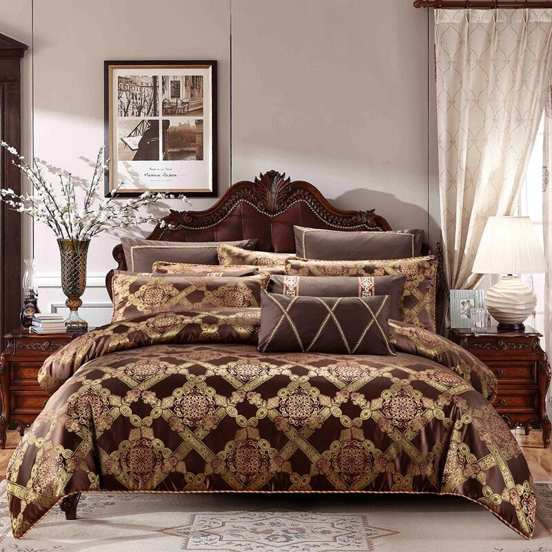 Luxury Bedding Sets Brown Coffee Cotton Stain Bed Duvet Cover King Queen Size