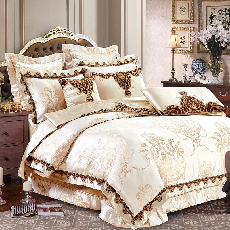 Luxury Bedding Sets Beige Embroidered Cotton Bedspread King Queen Size Luxury Bed Room
