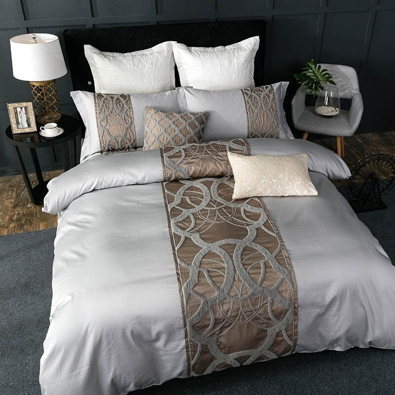 Luxury Bedding Sets 60S Egyptian Cotton Grey Bedding Sets Bed Linen Luxury Room
