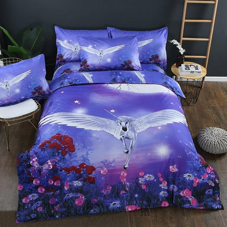 Beautiful Unicorn Pattern Bedding Sets Duvet Cover Flat Sheet Bed Linings Kids Bedding Sets - Lusy Store