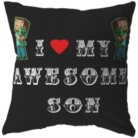 Classic Minecraft Pillow Love My Awesome Son - Lusy Store