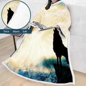 Comfy Hooded Blanket Wolf Winter Thick Blanket Comfortable TV Blankets For Sofa Bed Travel Bed - Lusy Store