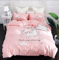Cute Unicorn Bedding Sets Duvet Cover Embroidery Kids Bedding Sets Soft Bed Linen Twin/Queen/King Size - Lusy Store