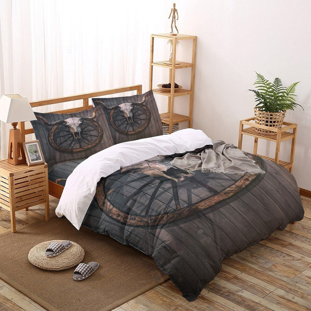 Farmhouse Bedding Set Wood Board Home Textile Flat Sheet Pillowcases Quilt Cover - Lusy Store