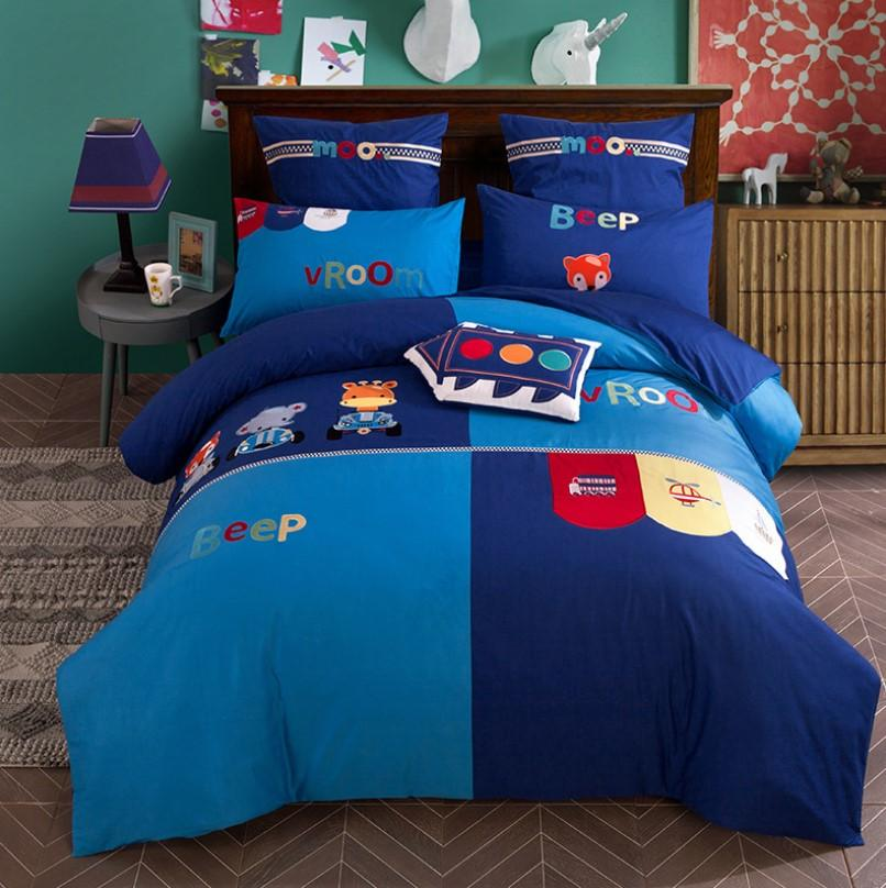 Girls Bedding Sets Cotton Satin Boy And Girl Cute Little Embroidery Bedding BD245 - Lusy Store