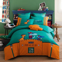 Girls Bedding Sets Cotton Satin Boy And Girl Cute Little Embroidery Bedding BD246