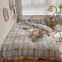 Girls Bedding Sets Fresh Cream Color Gentle Lattice Cotton Net Red Bedroom P1528 - Lusy Store