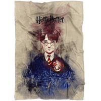 Harry Potter Fleece Blanket Watercolor Grey Blanket - Lusy Store