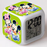 Mickey Mouse Alarm Clock For Kids Bedroom Digital Kawaii Anime PVC Birthday Toy