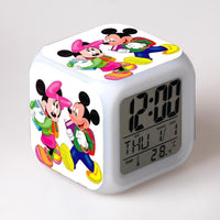 Mickey Mouse Alarm Clock For Kids Bedroom Digital LED 7 Changed Night Light - Lusy Store