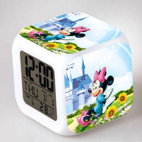 Mickey Mouse Alarm Clock For Kids Bedroom Digital LED 7 Changed Night Light