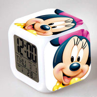 Mickey Mouse Alarm Clock For Kids Bedroom Digital LED 7 Changed Night Light A105