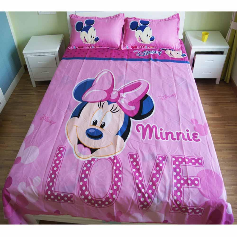 Mickey Mouse & Friends Twin Full Queen Sheet Sets Duvet Cover Pink Bedding Sets MM7 - Lusy Store