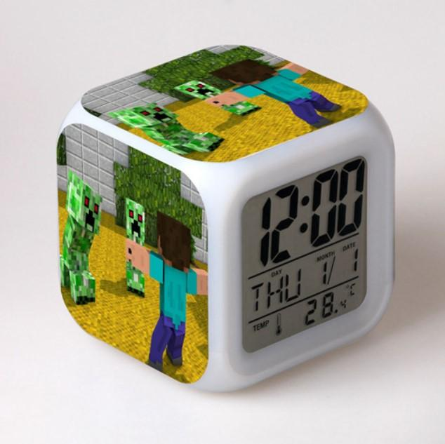 Minecraft Alarm Clock Colorful LED Night Light MN157 - Lusy Store
