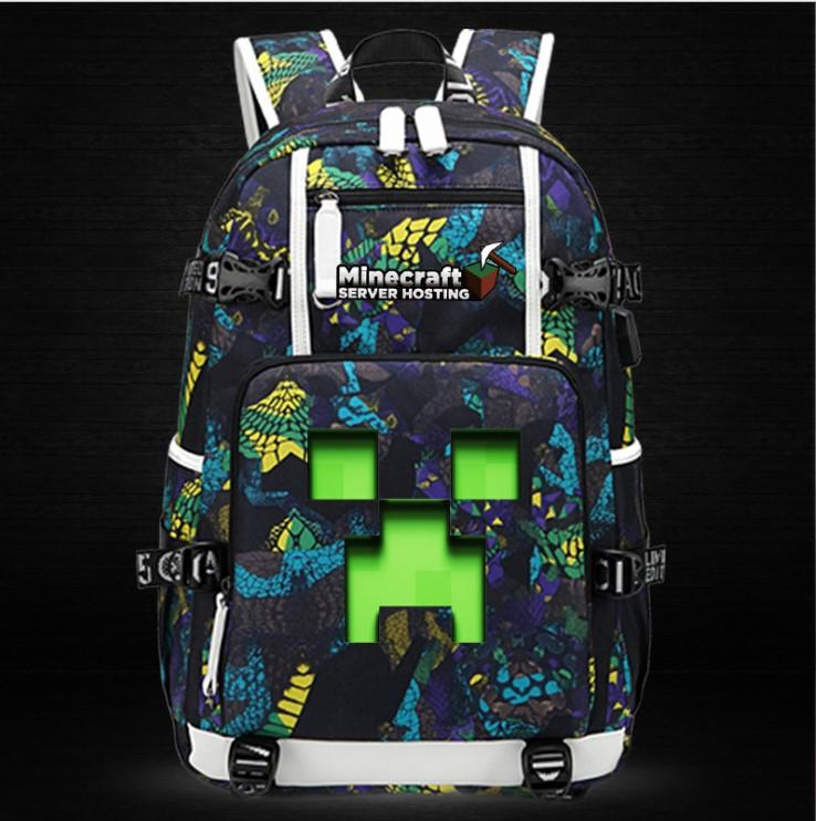 Minecraft Backpack Male Female Students Single Creeper Backpack Unique Premium Quality B135 - Lusy Store