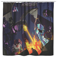 Minecraft Curtain Ender Dragon Black Shower Curtain For Bathroom Decor MC895