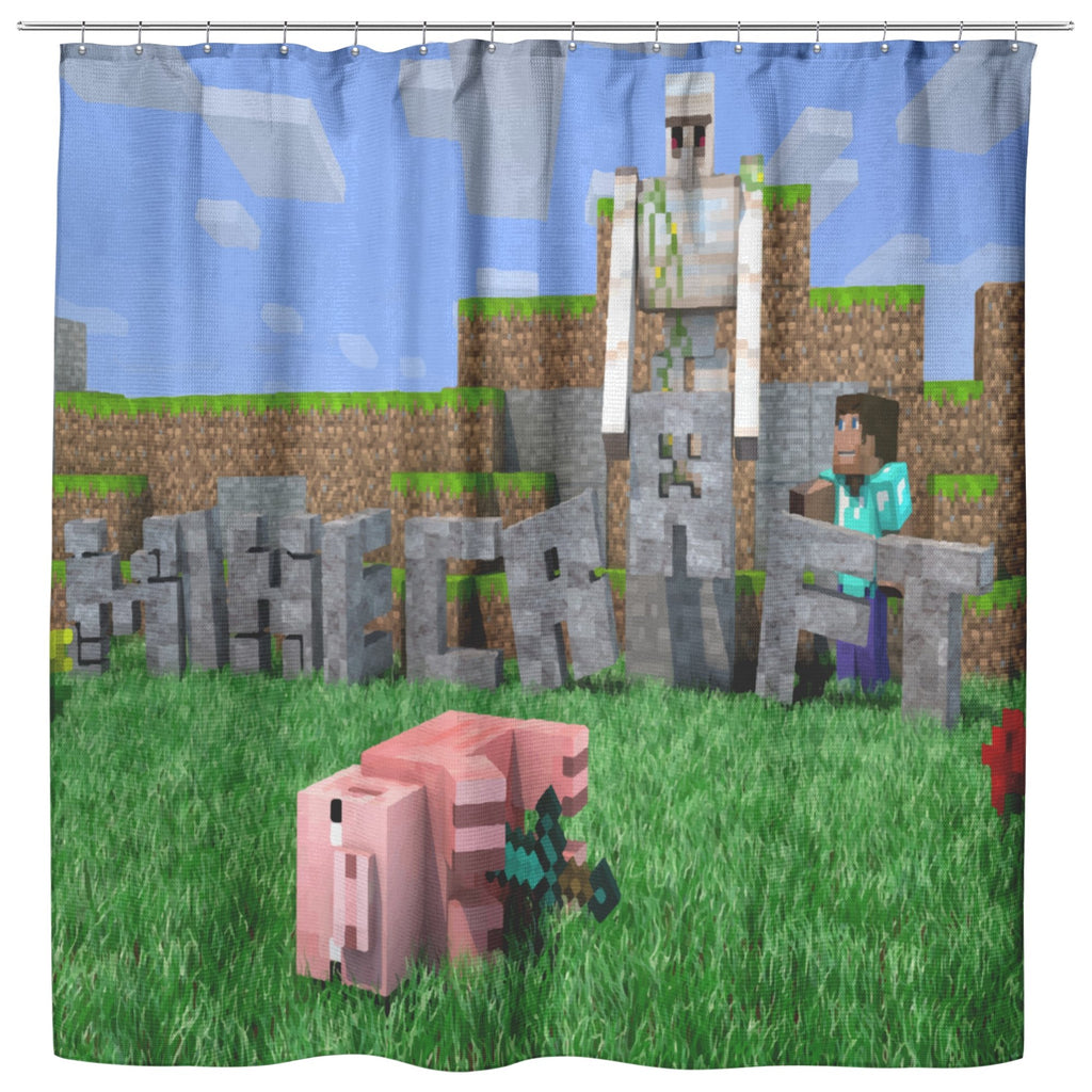 Minecraft Curtain Funny Playing Minecraft Shower Curtain For Bathroom Decor MC905 - Lusy Store