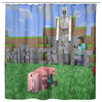Minecraft Curtain Funny Playing Minecraft Shower Curtain For Bathroom Decor MC905