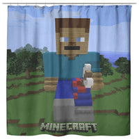 Minecraft Curtain Steve Minecraft Shower Curtain For Bathroom Decor MC902