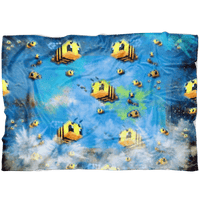 Minecraft Feece Blanket Minecraft Bees Color Festival Blue Blanket - Lusy Store