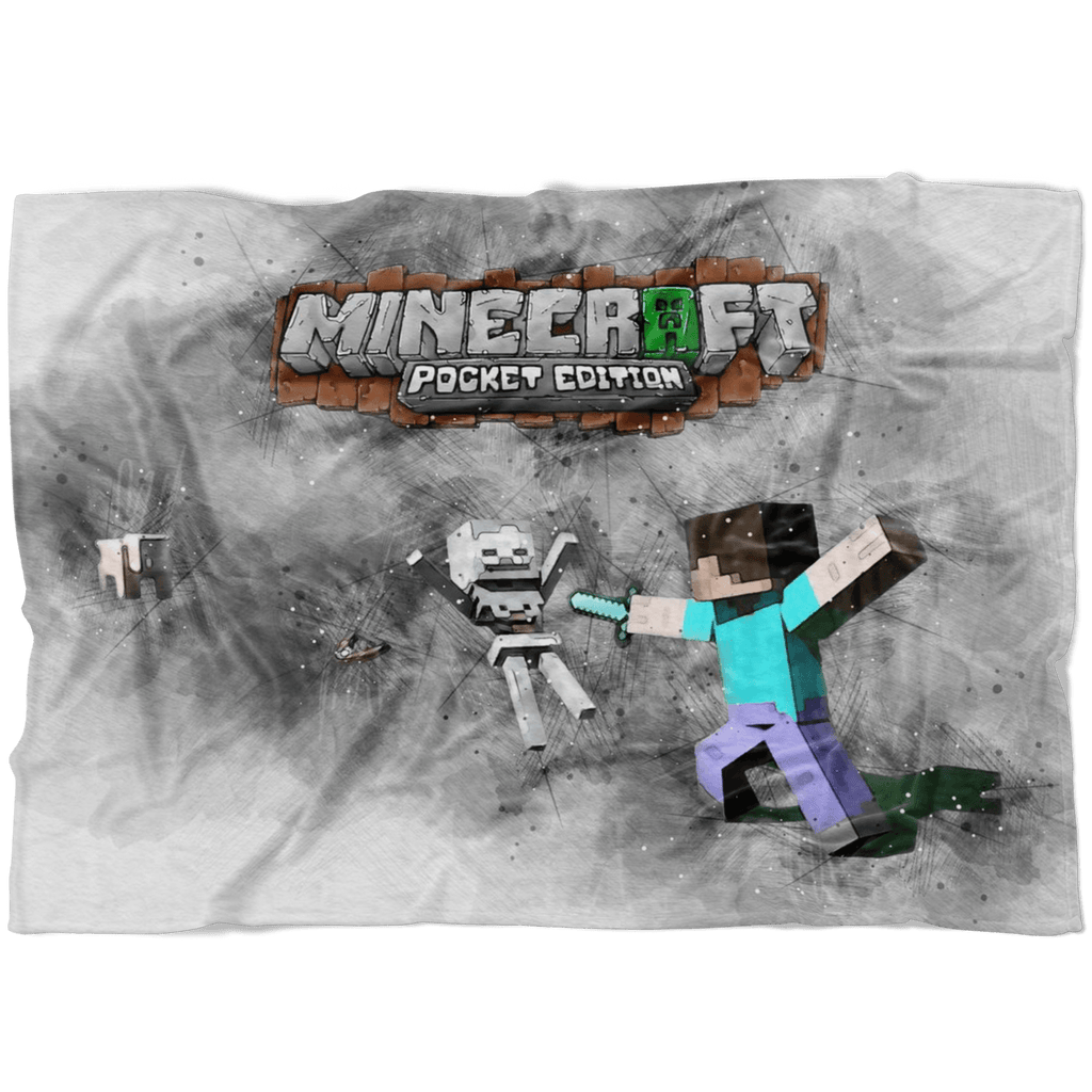 Minecraft Fleece Blanket Sketch Mix Grey Blanket - Lusy Store