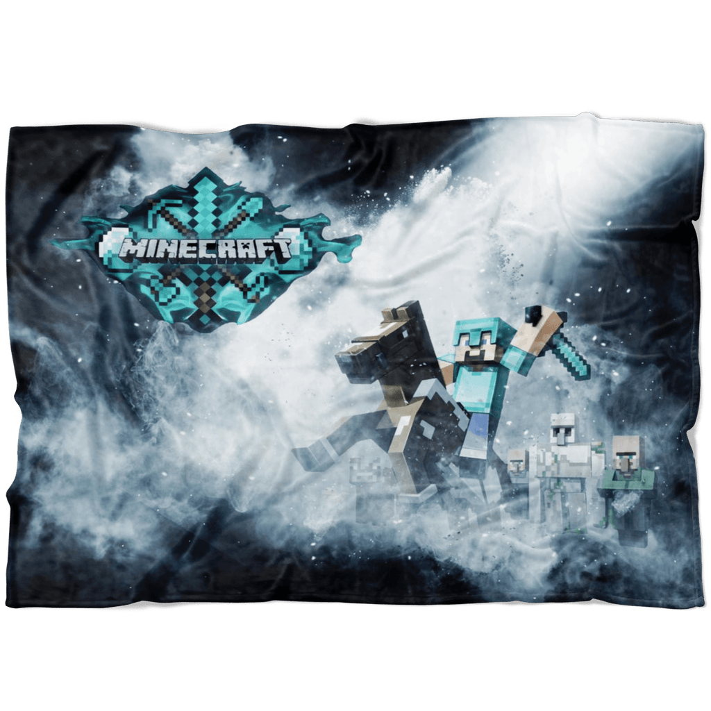 Minecraft Fleece Blanket Steve Diamond Black Blanket LS0756 - Lusy Store