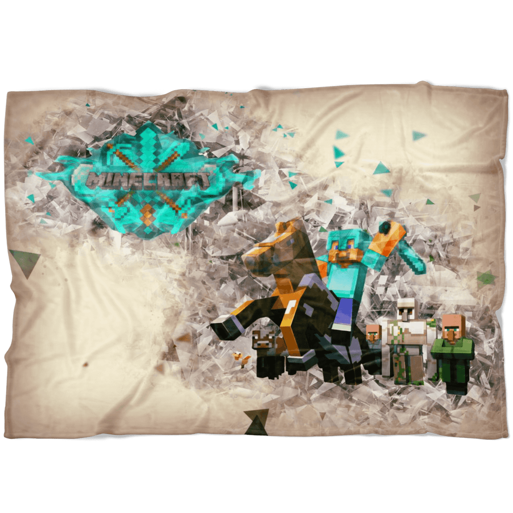 Minecraft Fleece Blanket Steve Diamond Brown Blanket LS0714 - Lusy Store