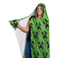 Minecraft Hooded Blanket Creeper Large Size Warm Wearable Throw Blankets - Lusy Store