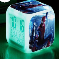 Spiderman Alarm Clock For Kids Changing Spider Man 7 Colors LED Alarm Clock Lovely B103