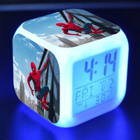 Spiderman Alarm Clock For Kids Changing Spider Man 7 Colors LED Alarm Clock Lovely Wake Up