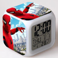 Spiderman Alarm Clock For Kids Changing Spider Man 7 Colors LED Alarm Clock Lovely Wake Up R101