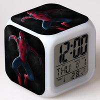 Spiderman Alarm Clock For Kids Changing Spider Man 7 Colors LED Alarm Clock Lovely Wake Up R102