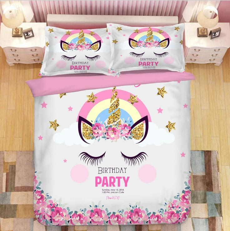 Unicorn Bedding 3D Printing Cute Bedding Sets For Girls Kids BD159 - Lusy Store