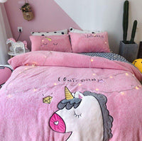 Unicorn Bedding Embroidered Lamb Cashmere Thick Warm Coral Velvet Girl Heart Quilt Bedding - Lusy Store