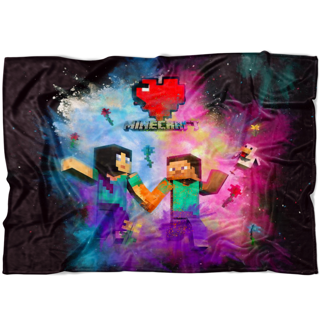 Minecraft Fleece Blanket Minecraft Love Color Festival Black Blanket
