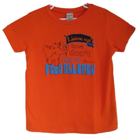 Orange Food Allergies Awareness T-shirt for Toddlers and Children