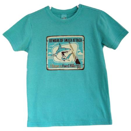 aqua tee with shark food allergy alert graphic