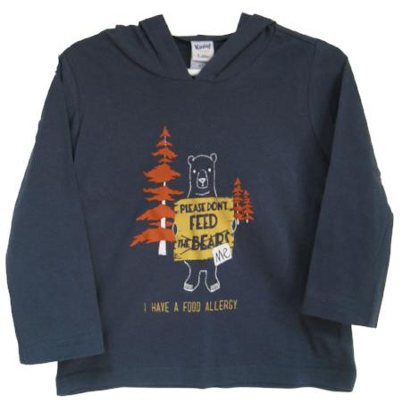 long sleeved lightweight food allergy alert hoodie